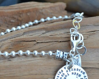 Friendship Bracelet - Quote on Sterling Silver Charm -Best Friends Bracelet Gift Jewelry, Friendship Gift, Going Away