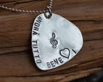 Guitar Pick Silver Charm - Personalized - Music Gift for Him or Her - Stamp Songs, Sayings, Dates, Wedding Song, Names or Anything Special