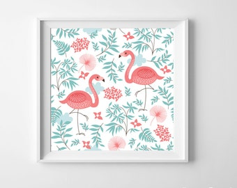 Flamingo Nursery Kids Room Art Print Pink Green beach ocean cottage more colors available