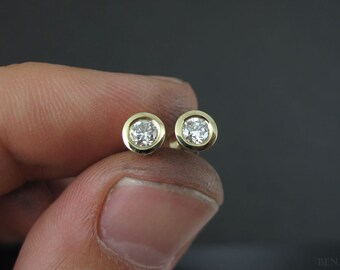 Diamond Stud Earrings, Simple Diamonds Earrings, 0.20 Carat Round Diamond Stud Earrings, Diamond Earrings, Gold Wedding Earrings