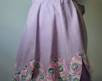 Vintage Apron Lovely Handmade Apron in Purple Lavender With Pink and Purple Floral Trim 1940s 1950s Fabric Small and Dainty with Petal Hem