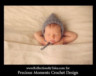 Newborn Photo Prop, Newborn Bonnet, Newborn Pixie Hat, Newborn Gnome Hat, Baby Bonnet, Crochet Bonnet, Newborn Hat, Gray Bonnet, Crochet Hat