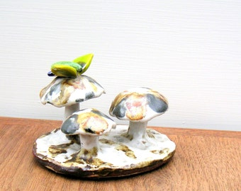 Forest of Pottery Mushrooms and Butterfly Vintage Sculpture