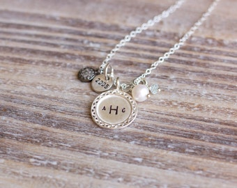 Monogram Necklace - Family Necklace - Sterling Silver - Handstamped - Pave Diamond Disc Charm - Gemstone Charm - Year - Valentine's Day Gift