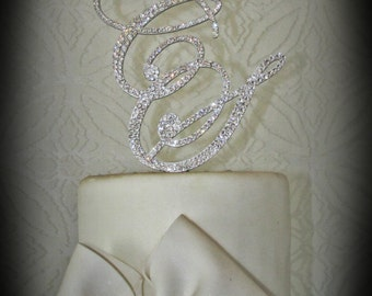 Monogram cake topper - Double Letter Initial - Hand embellished with Swarovski Crystals