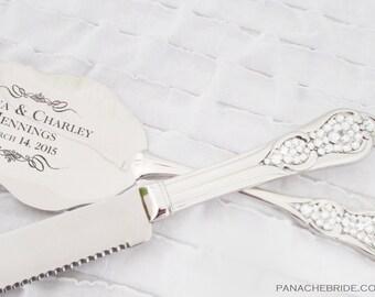 Wedding Cake Knife and Server Set - Embellished with Swarovski Crystals & Personalized