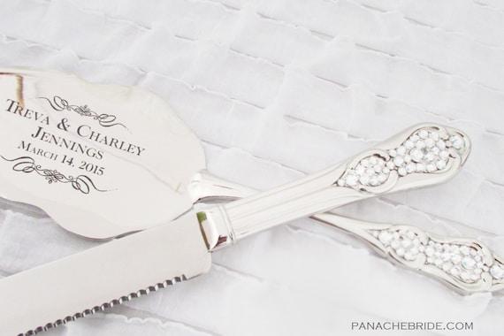 Wedding Cake Knife And Server Set Embellished With Swarovski