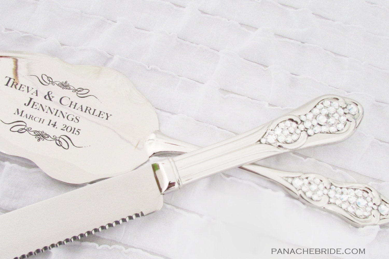 wedding cake knife and server set embellished with swarovski. Black Bedroom Furniture Sets. Home Design Ideas