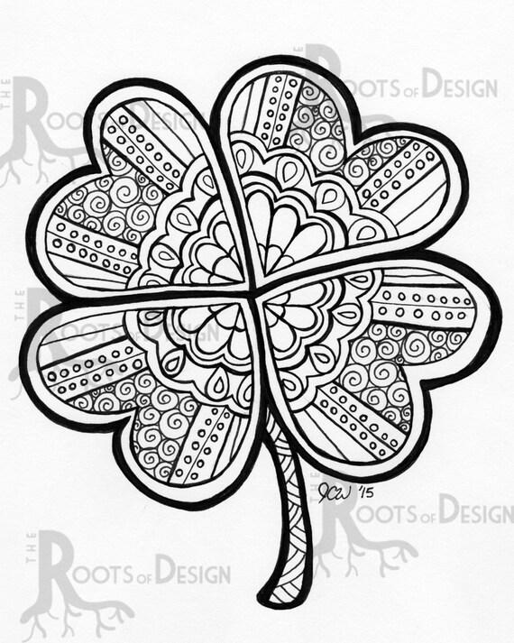 ... Leaf Clover/ Shamrock Print zentangle inspired, doodle art, printable
