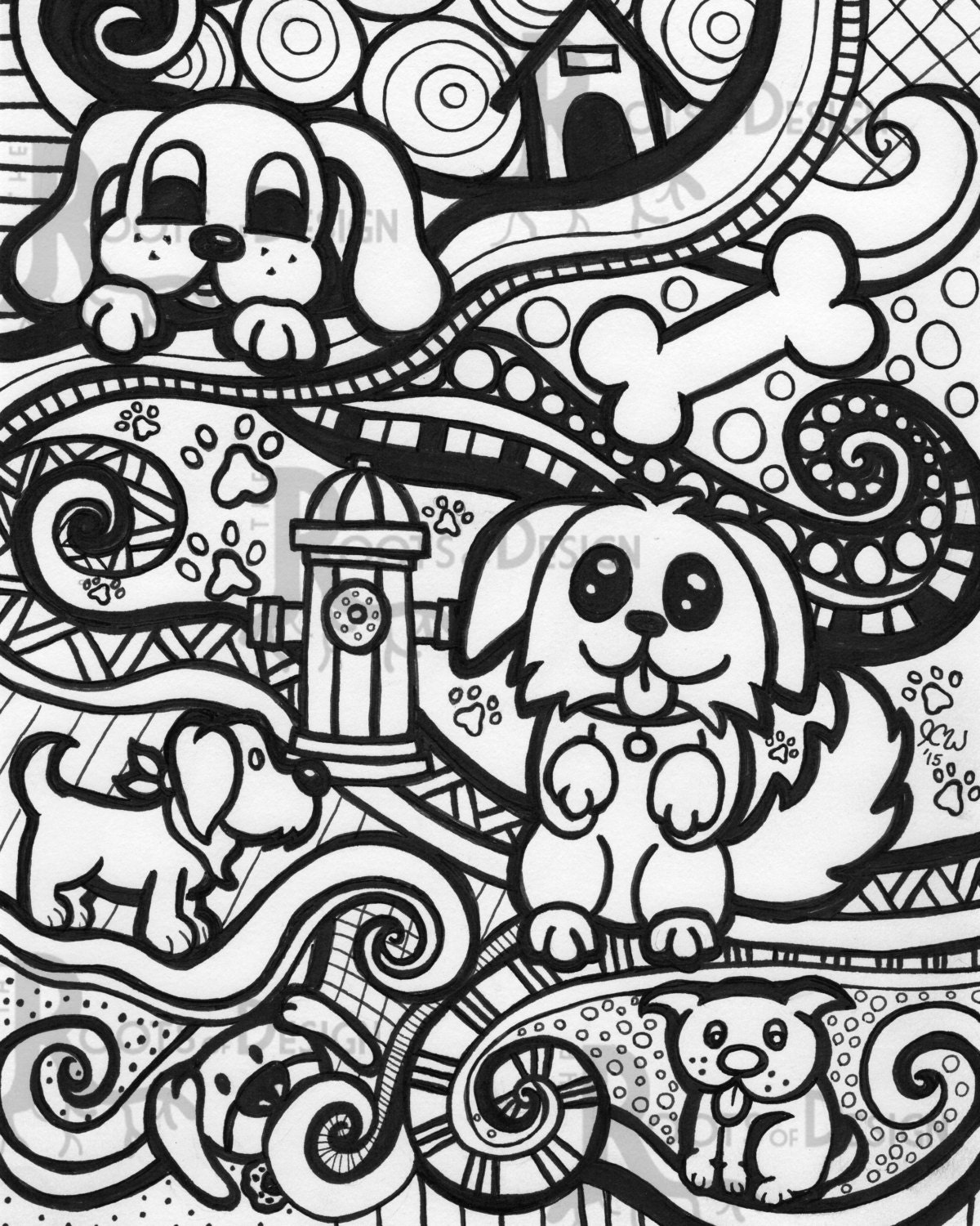 Instant download coloring page dog art print zentangle for Doodle art free