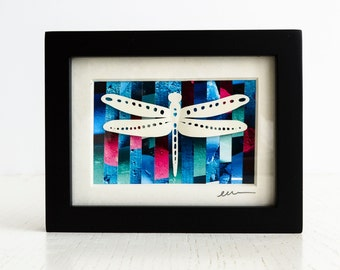 Dragonfly Wall Art - Original Collage Bug Silhouette