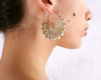 Mandala Earrings - Hoop Earrings - Geometric Earrings - Brass Earrings -