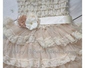 Champagne  Rustic Lace Chiffon Dress with Matching Headband and Sash...Flower Girl Dress, Wedding Dress, Baptism Dress