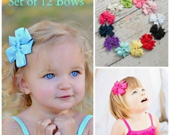 Hair Bows SET of 12 - Hair Bows, Hairbows, Girls Hair Bows, Baby Bows, Toddler Hair Bows, Hair bow, Hair Clips, Baby girl Bows, Shower Gift.