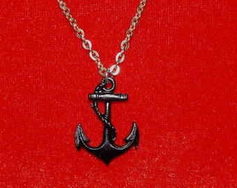 Adorable vintage 60's black metal anchor silver tone chain bombshell nautical pendant necklace