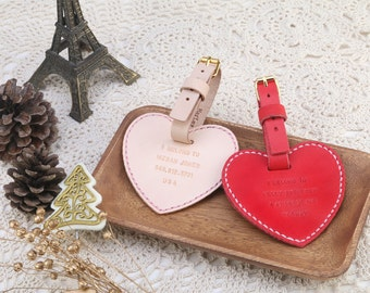 Personalized Leather Heart Shape Luggage Tag x2 in Set, with Monogrammed, wedding favor - Hand Stitched by Harlex