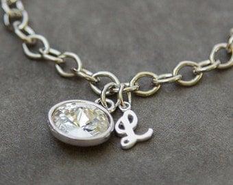New Mom Initial Bracelet, New Mother Jewelry, Initial Birthstone Bracelet, Grandma Gift