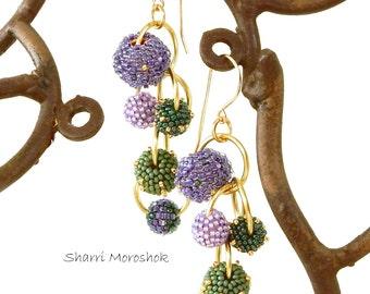 Sale Earrings reduced 50% - beaded beads by Sharri Moroshok - purple green gold