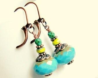 good day sunshine aqua copper drop earrings, boho, bohemian, hippie, gypsy, rustic