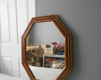 SALE / large vintage faux bamboo octagon mirror // wall hanging