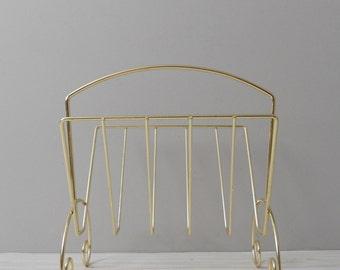 vintage mid century hollywood regency brass wire floor stand // magazine stand holder // rack