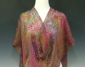 """Rainbow hand dyed silk scarf with spot burnout pattern 15"""" x 72"""""""