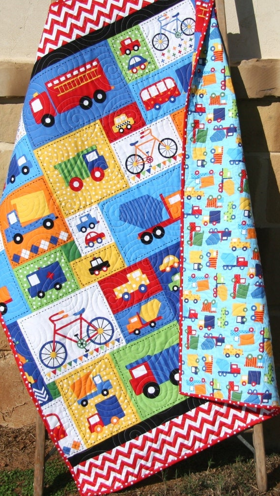 Vehicle baby boy quilt primary red blue by sunnysidedesigns2 for Little blue truck fabric