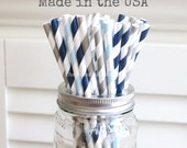 25 Blue and Gray Paper Straws, Baby Shower, Navy Paper Straws, Wedding Table Setting, Baby Shower Straws, Kids, Cake Pop Sticks, Made in USA
