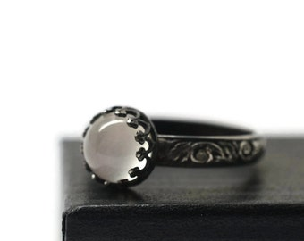 White Moonstone Engagement Ring, Oxidized Renaissance Ring, Black Floral Band, Natural Gemstone, Handforged Silver Ring