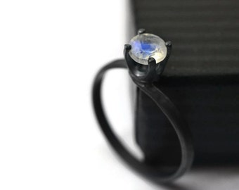 5mm Blue Moonstone Ring, Minimalist Engagement Ring, Black Silver Ring, Oxidized Ring