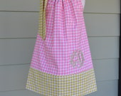Girls Pillowcase Dress Pink & lime houndstooth, with monogram option Michael Miller fabric by Baby Harrill