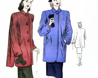 Vogue 5350 Vintage 40s Misses' Coat Sewing Pattern - Unused - Size 12 - Bust 30