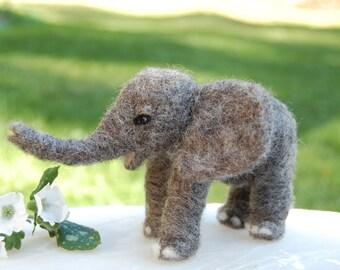 Needle Felted Elephants. Felt Elephant. Needle Felted Animal. Baby Elephant Nursery Decor. African Elephant Toy. Elephant Baby Nursery.