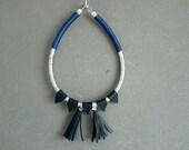 Statement Necklace-Silver and Dark Blue