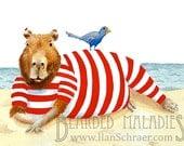 "Capybara Greeting Card, Beach Lounging 4.25""x5.5"", Blank inside, Animal Art, Old Timey, Vintage, Drawing"