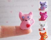Felt Miniature - Felted Miniature kitty - Felted kitty - Pink kitty felted miniature - kitty miniature - tiny kitty - felted dark kitty