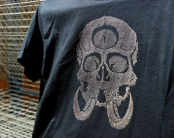 Tusk Seer t-shirt - Discharge printed, horns, all seeing eye, third eye, skeleton, metal, illustration, art, artwork, illustration
