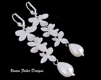 Wedding Earrings Pearl Azalea Orchid Flower Bridal Jewelry Bridesmaid Gift