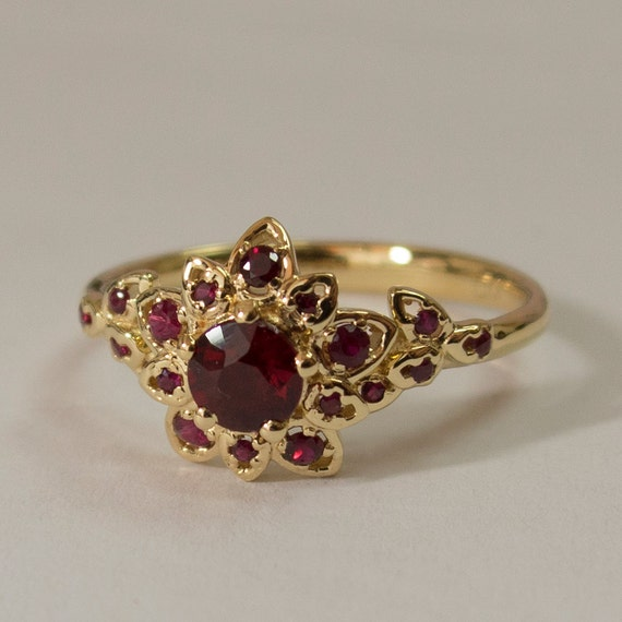 Ruby Art Deco Petal Engagement Ring No 2b 14k Gold By
