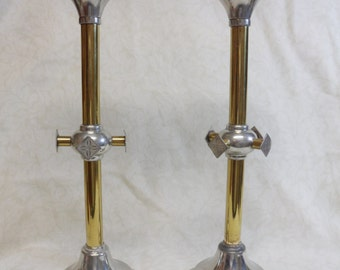 "Antique Pair Brass - Silver Gothic Church Altar 16"" Candlesticks Candle Holders Circa 1890 by W & E Schmidt Jewelry Company, Milwaukee"
