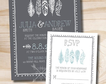 Rustic Feather Wedding Invitation and Response Card Invitation Suite