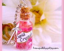 Cupid Crystal Necklace , Harry Potter Inspired , glass vial  2ml Potion Bottle , Love & Magic Potion , Weasley Wizard  By: Tranquilityy
