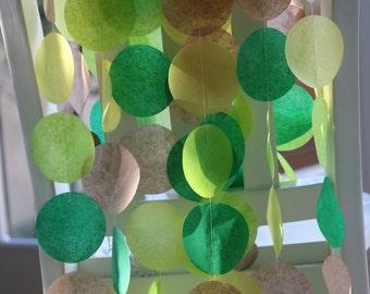 Tissue Paper Garland, Party Garland, Birthday Garland, Wedding Garland- Tropical Greens