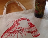 Beer Drinking Lobster, Stocking Stuffer for Beer Lover, Maine Lobster Lover, Canvas Tote Bag, Beach Bag, Shopping Bag, Growler Bag