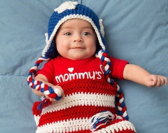 MADE TO ORDER Red, White and Blue baby Cocoon and hat, baby photo prop, custom sizes