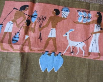 Egyptomania. Vtg Pat Prichard 1955 linen kitchen towel, unused condition.