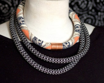 Bold Gazelle Fabric Rope Necklace with Copper Accent
