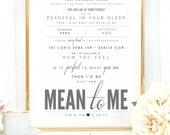 "Light Gray & Navy Blue, Brett Eldredge ""Mean To Me"" - Valentine's, Wedding Gift, Cotton, Paper Anniversary Gift, Song Lyrics, Art Print"