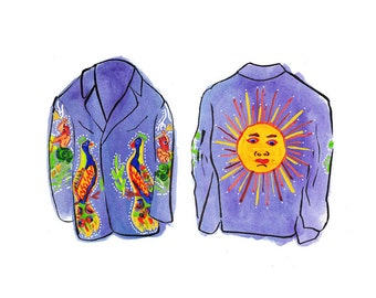 Illustration // The Flying Burrito Brothers // Art Print // Nudie Suit // Country Music