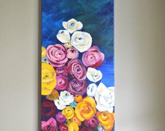 Garden Floral Bouquet Flowers Original Painting